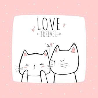 Tarjeta de doodle de dibujos animados lindo gato pareja besos