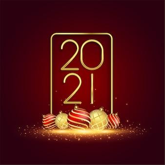 Tarjeta dorada de año nuevo con decoración de bolas navideñas.
