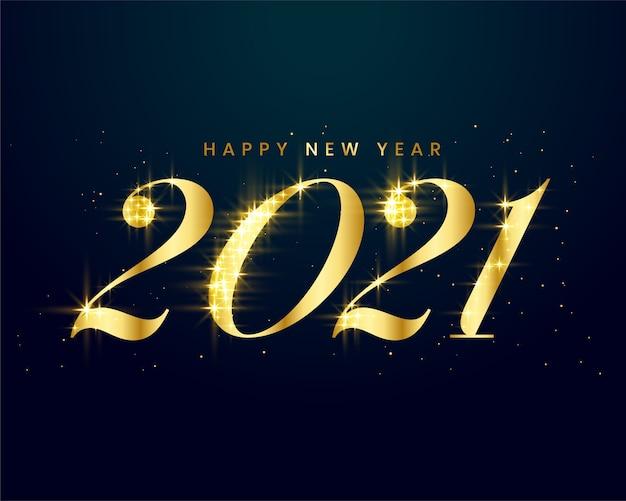 Tarjeta dorada de año nuevo con destellos