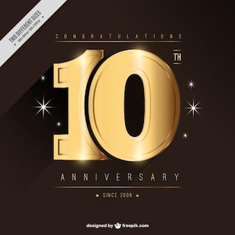 Tarjeta dorada de décimo aniversario