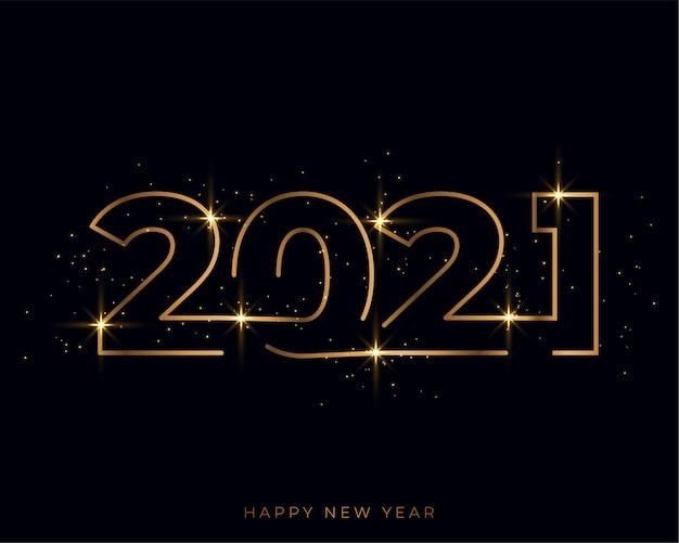 Tarjeta dorada de feliz año nuevo de estilo de línea 2021