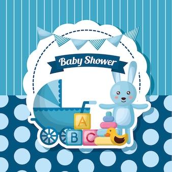 Tarjeta de la ducha del bebé conejo azul babe carriege rayas juguetes de fondo