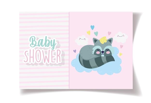 Tarjeta de ducha de bebé de dibujos animados de nubes de mapache de sueño