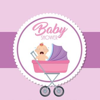 Tarjeta de la ducha del bebé con la niña