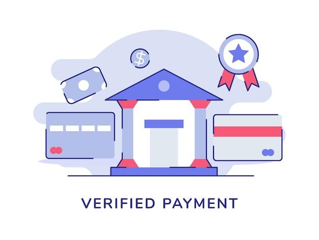 Tarjeta de edificio de oficinas bancarias de pago verificado