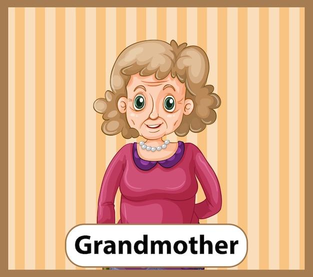 Tarjeta educativa de palabras en inglés de abuela