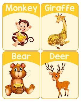 Tarjeta educativa de palabras en inglés de animales salvajes.