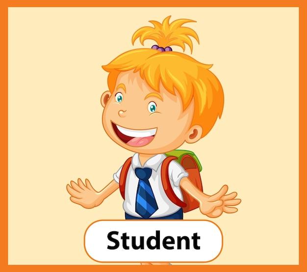 Tarjeta educativa de palabras en inglés de estudiante.