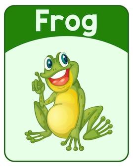 Tarjeta educativa de palabras en inglés de frog