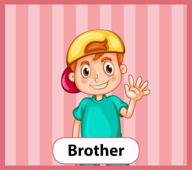 Tarjeta educativa de palabras en inglés de hermano