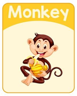 Tarjeta educativa de palabras en inglés de mono