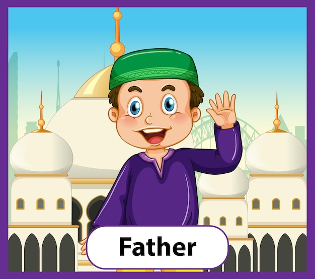 Tarjeta educativa de palabras en inglés del padre