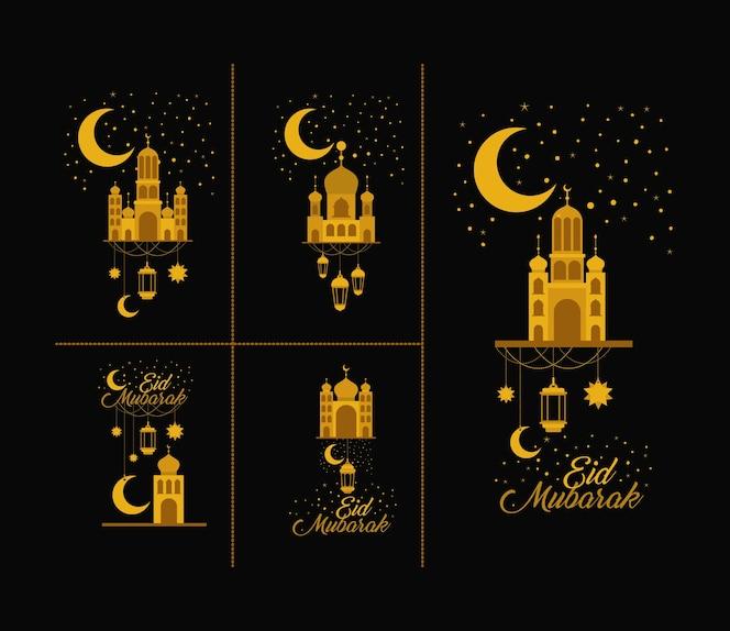 Tarjeta eid mubarak con iconos de conjunto