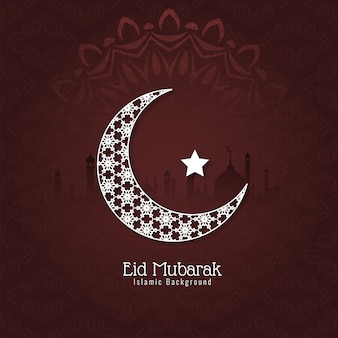 Tarjeta eid mubarak con luna decorativa