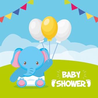 Tarjeta de elefante con globos para baby shower