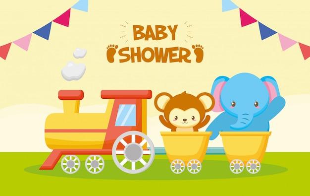 Tarjeta de elefante y mono en un tren para baby shower