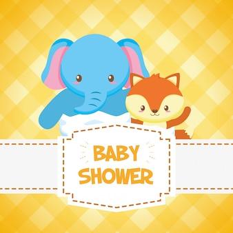 Tarjeta de elefante y zorro para baby shower