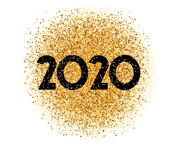 Tarjeta elegante de 2020 golden glitter happy new year