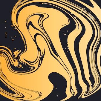 Tarjeta elegante de la cubierta del fondo del vector de oro del arte flúido