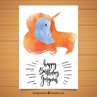 Tarjeta elegante de cumpleaños con unicornio de acuarela