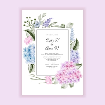 Tarjeta elegante de la invitación de la boda de la hortensia de la flor de la acuarela