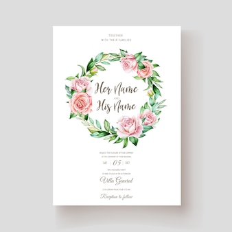 Tarjeta elegante de la invitación de las rosas de la acuarela