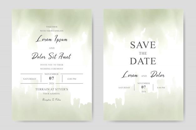 Tarjeta elegante de la plantilla de la invitación de la boda de la acuarela