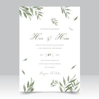 Tarjeta elegante de la plantilla de la invitación de la boda del follaje de la acuarela