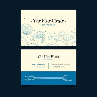 Tarjeta de empresa comercial el restaurante pirata azul
