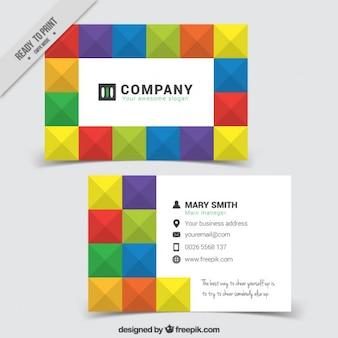 Tarjeta de empresa de cuadros de colores