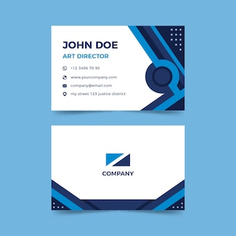 Tarjeta de empresa con formas azules clásicas