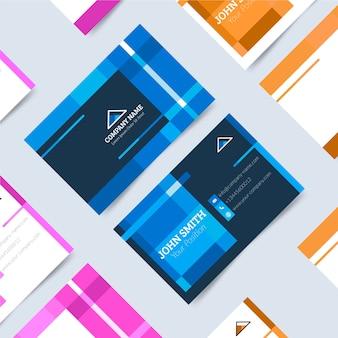 Tarjeta de empresa moderna con formas azules clásicas