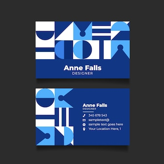Tarjeta de empresa moderna con formas geométricas azules clásicas