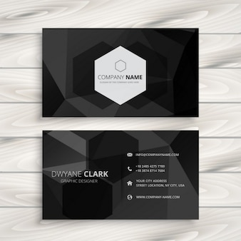 Tarjeta de empresa negra con logo hexagonal