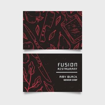 Tarjeta de empresa restaurante fusión restaurante