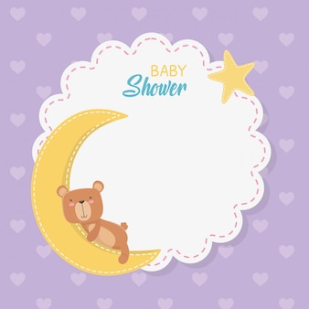 Tarjeta de encaje de baby shower con osito teddy con luna.