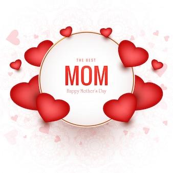 Tarjeta encantadora del día de las madres felices con fondo de corazones
