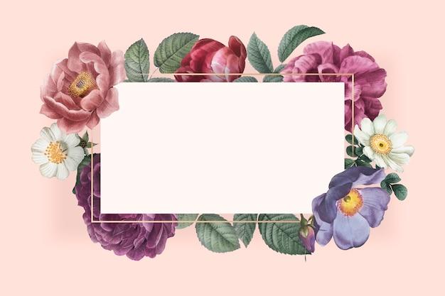 Tarjeta enmarcada floral