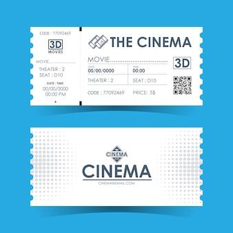 Tarjeta de entradas de cine. plantilla de elemento para el diseño.
