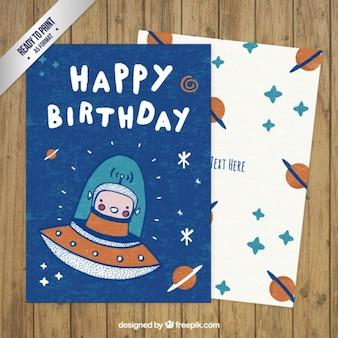 Tarjeta espacial bonita de cumpleaños