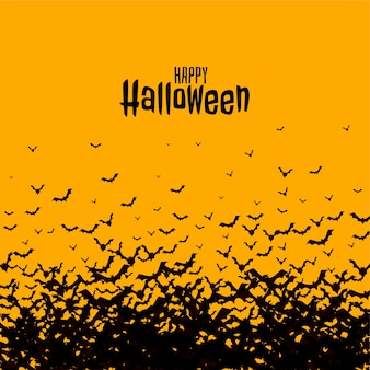 Tarjeta espeluznante de miedo feliz halloween con murciélagos