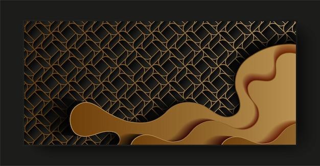 Tarjeta de estilo de onda abstracta de línea dorada oscura