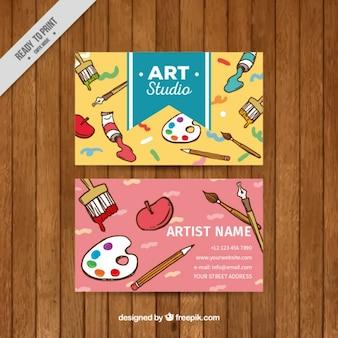 Tarjeta de estudio de arte con elementos de pintura