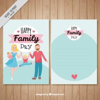 Tarjeta de familia divertida dibujada a mano vector gratuito
