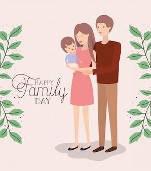 Tarjeta familiar del día con padres e hijas hojas corona.