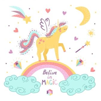 Tarjeta con fantasía unicornio y letras.