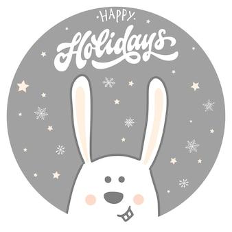 Tarjeta de felices fiestas con conejo y cita