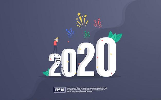 Tarjeta de felicitación de 2020 con personas celebrando año nuevo y viendo explosiones de fuegos artificiales en el cielo por la noche