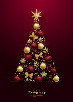 Tarjeta de felicitación con 3d árbol de navidad.