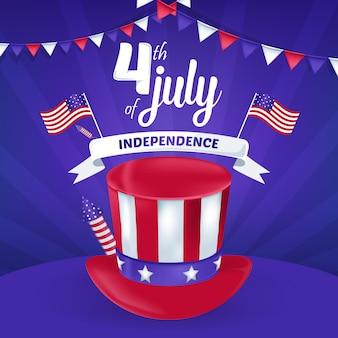 Tarjeta de felicitación del 4 de julio del día de la independencia de américa